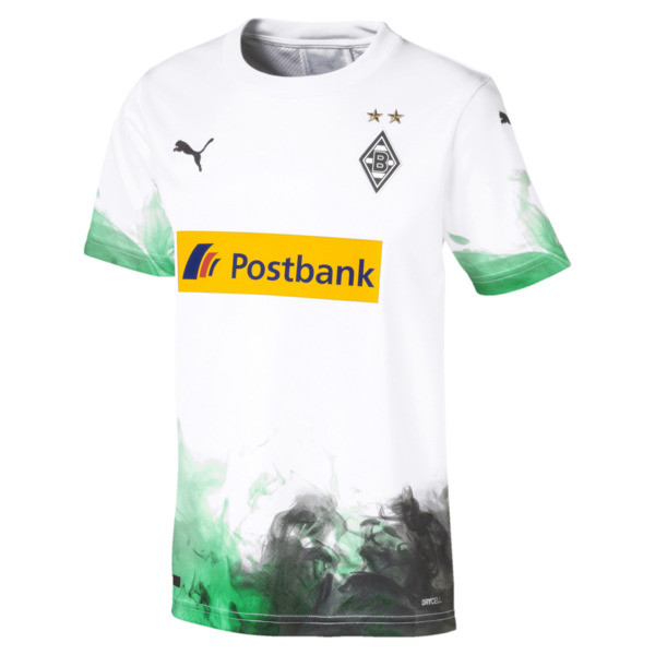 Borussia Mönchengladbach Kids' Home Replica Jersey, Puma White-Bright Green, large