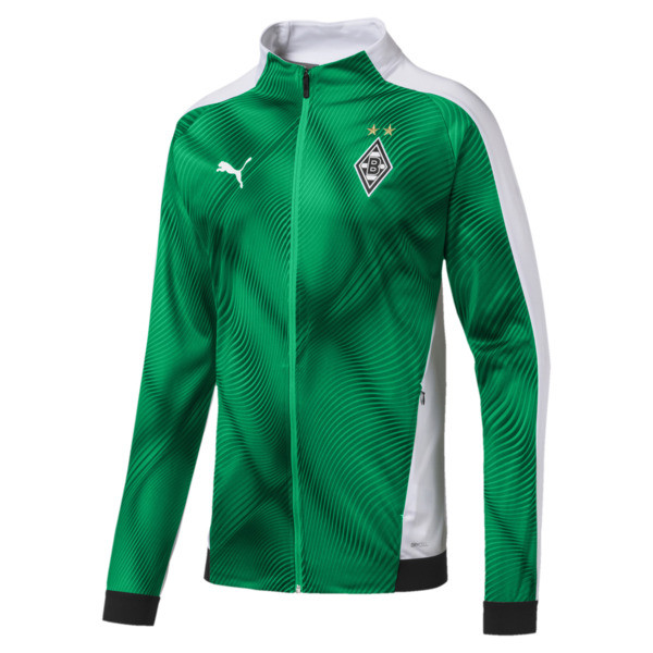 Borussia Mönchengladbach Men's Stadium Jacket, Bright Green-Puma Black, large