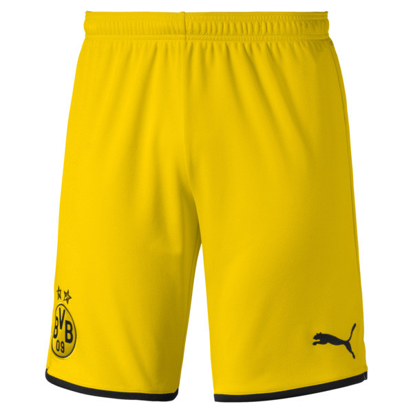 BVB Men's Away Replica Shorts, Cyber Yellow-Puma Black, large