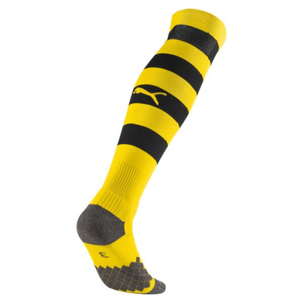 BVB Men's Hooped Socks, Cyber Yellow-Puma Black, large