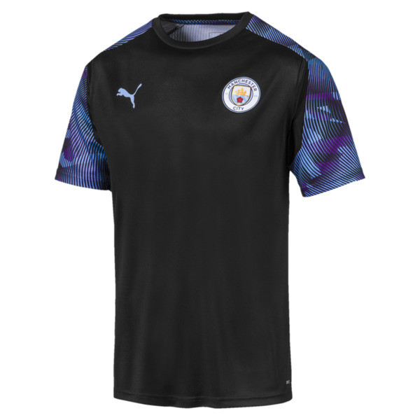 Man City Men's Training Jersey, Puma Black-Team Light Blue, large