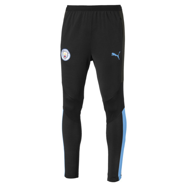 Manchester City FC Men's Pro Training Pants, Puma Black-Team Light Blue, large