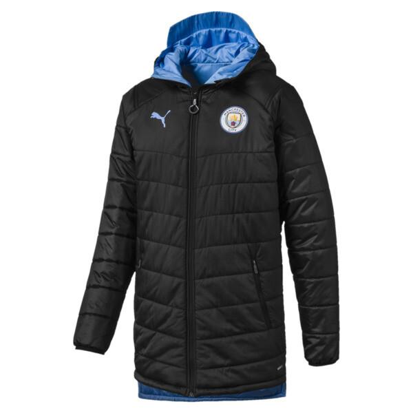 Man City Bench Men's Replica Reversible Jacket, Puma Black-Team Light Blue, large