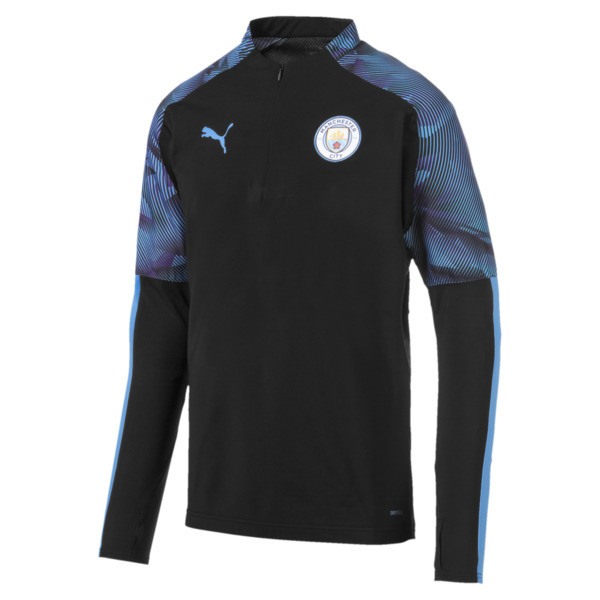 Manchester City FC Quarter Zip Men's Top, Puma Black-Team Light Blue, large