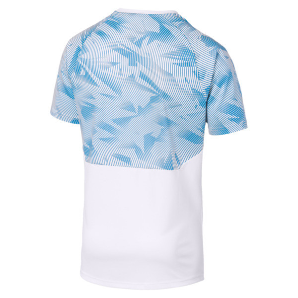 Olympique de Marseille Short Sleeve Training Jersey, Puma White-Bleu Azur, large