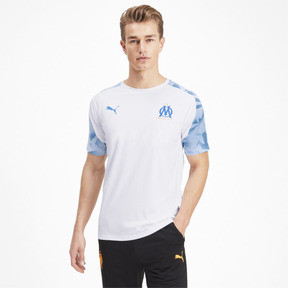 Thumbnail 1 of Olympique de Marseille Short Sleeve Training Jersey, Puma White-Bleu Azur, medium