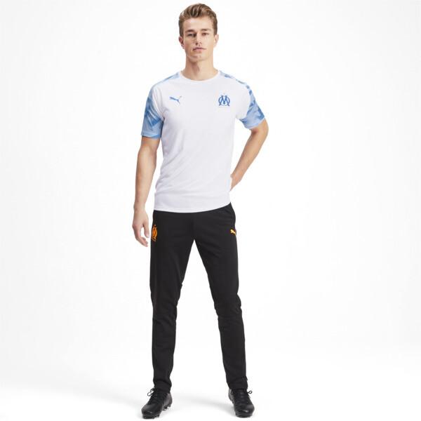 Olympique de Marseille Men's Training Jersey, Puma White-Bleu Azur, large