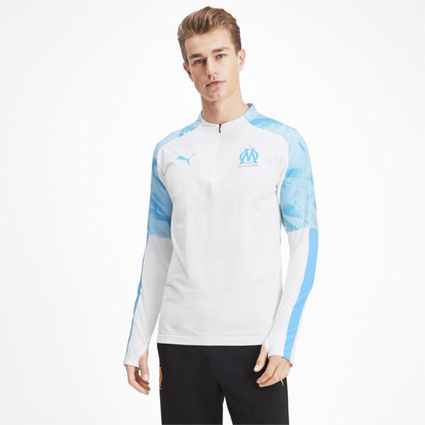 Olympique de Marseille Men's 1/4 Zip Training Top, Puma White, large
