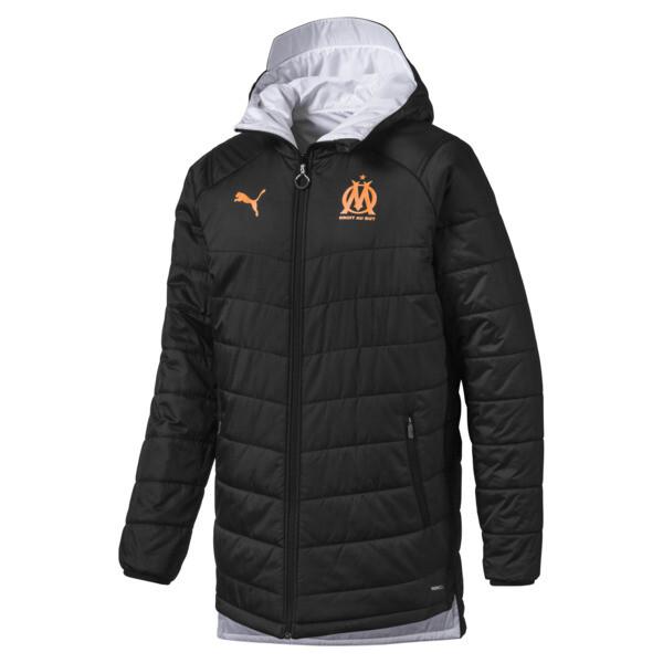 Olympique de Marseille Bench Men's Replica Reversible Jacket, Puma Black-Orange Popsicle, large