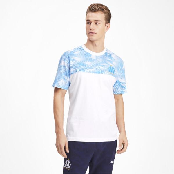 Olympique de Marseille Casuals Men's Tee, Puma White-Bleu Azur, large