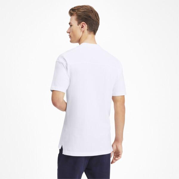 Olympique de Marseille Casuals Men's Polo Shirt, Puma White-Bleu Azur, large