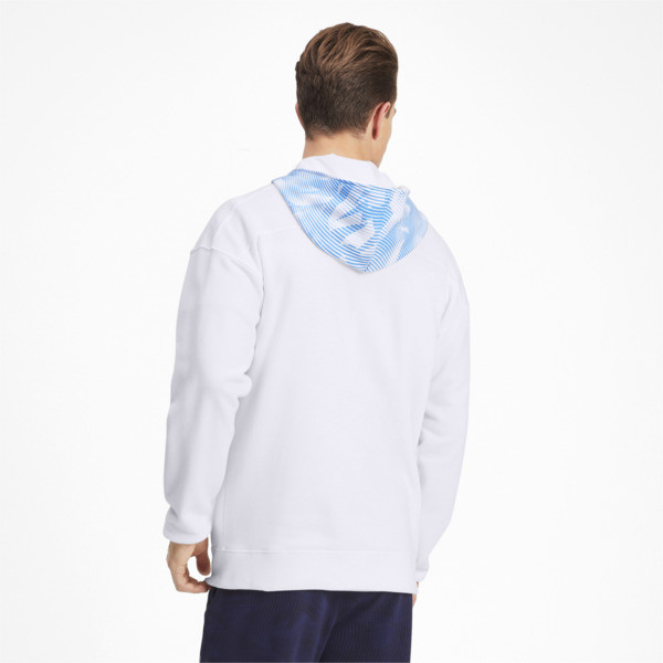 Olympique de Marseille Casuals Men's Zipped Hoodie, Puma White-Bleu Azur, large
