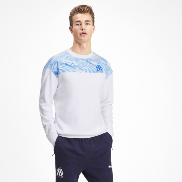 Olympique de Marseille Casuals Men's Sweater, Puma White-Bleu Azur, large