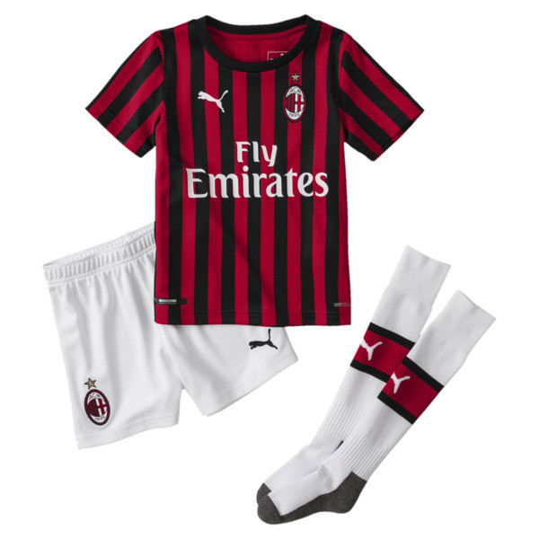 AC Milan Home Replica Babies' Mini Kit, Tango Red -Puma Black, large