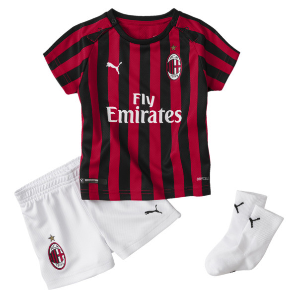 AC Milan Home Babies' Mini Kit With Socks, Tango Red -Puma Black, large