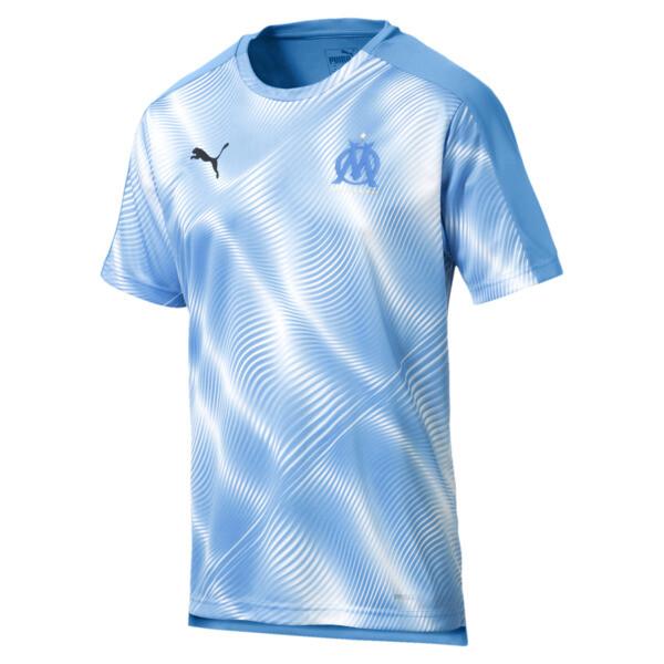 Olympique de Marseille Men's Domestic League Stadium Jersey, Bleu Azur-Puma White, large