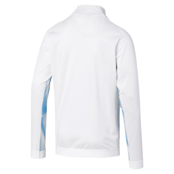 Olympique de Marseille Men's Stadium Jacket, Puma White-Bleu Azur, large