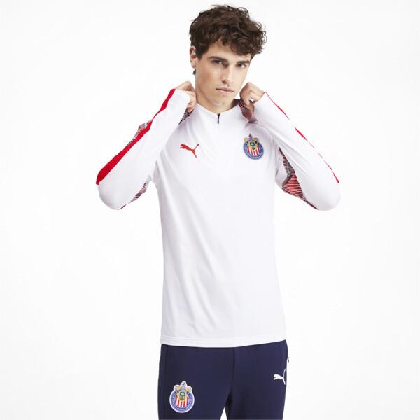 Chivas Men's Quarter Zip Top, Puma White-Puma Red, large