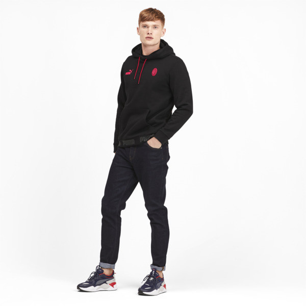 AC Milan FtblCulture Men's Hoodie, Puma Black-Tango Red, large