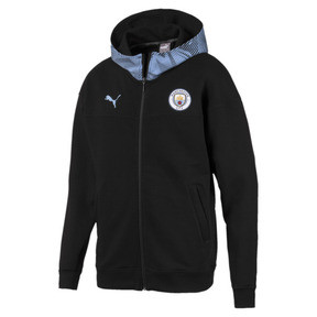 Thumbnail 1 of Man City Casuals Men's Zip-Thru Hoodie, Puma Black-Team Light Blue, medium