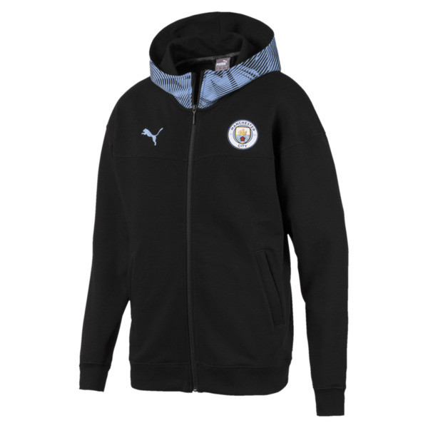 Man City Casuals Men's Zip-Thru Hoodie, Puma Black-Team Light Blue, large