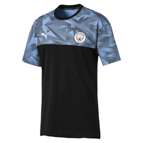 Manchester City Casuals Herren T-Shirt, Puma Black-Team Light Blue, large