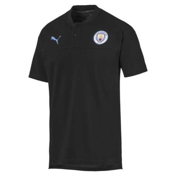 Polo Manchester City Casuals pour homme, Puma Black-Team Light Blue, large