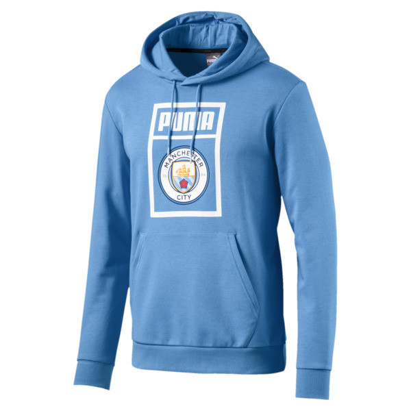 Man City Men's Shoe Tag Hoodie, Team Light Blue-Puma White, large