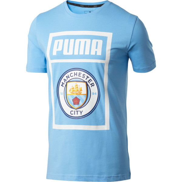 Manchester City FC Men's Shoe Tag Tee, Team Light Blue-Puma white, large