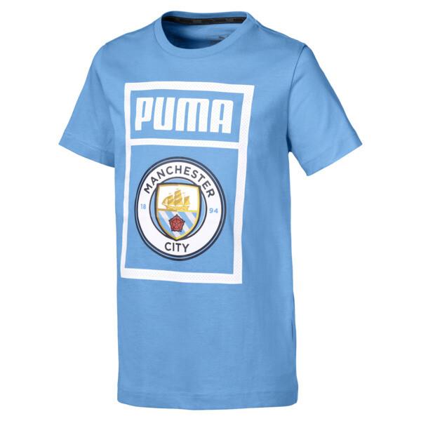 Man City Kids' Shoe Tag Tee, Team Light Blue-puma white, large