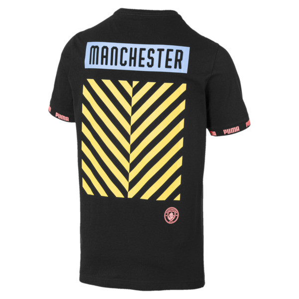 Manchester City FC FtblCulture Men's Tee, Puma Black-georgia peach, large
