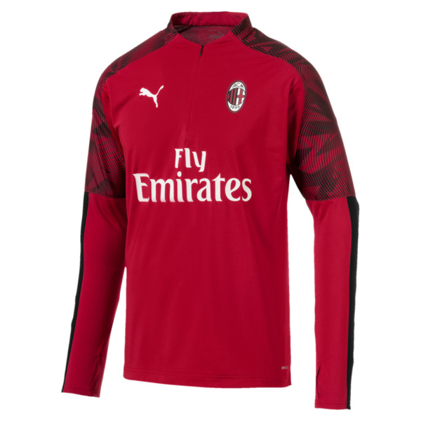AC Milan Men's 1/4 Zip Top, Tango Red -Puma Black, large