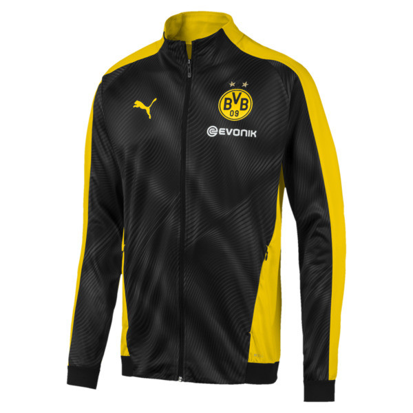 BVB Men's League Stadium Jacket, Cyber Yellow-Puma Black, large