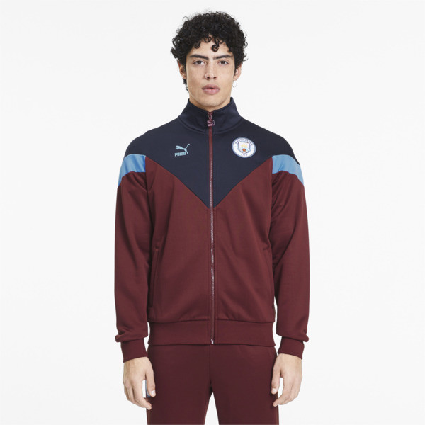 puma manchester city fc iconic mcs men's track jacket in cordovan red, size s