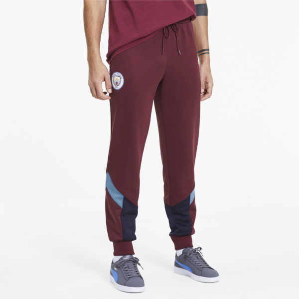 puma manchester city fc iconic mcs men's track pants in cordovan red, size m