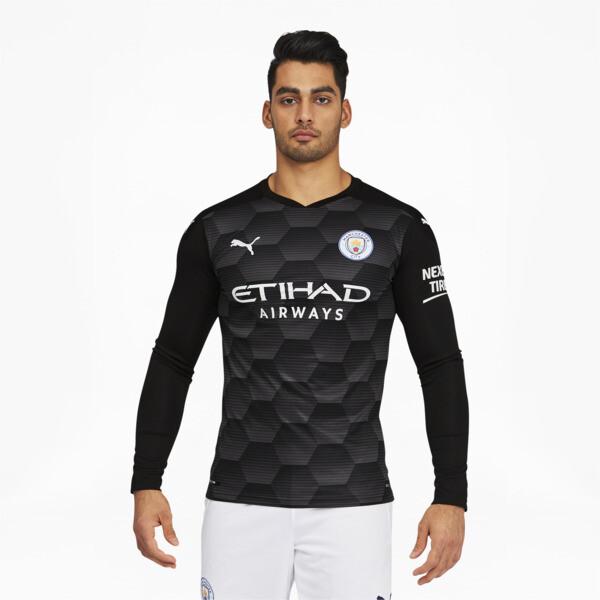 puma manchester city fc men's replica goalkeeper jersey in asphalt grey, size l