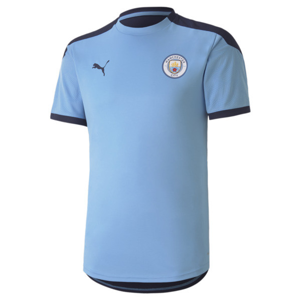 puma manchester city fc men's training jersey in team light blue/peacoat, size l
