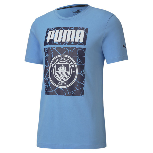 puma manchester city fc ftblcore men's graphic t-shirt in team light blue/peacoat, size xxl