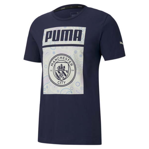 puma manchester city fc ftblcore men's graphic t-shirt in peacoat/whisper white, size m