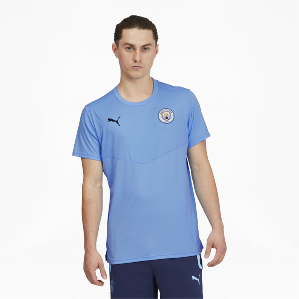 puma manchester city fc men's warm up t-shirt in team light blue/peacoat, size s
