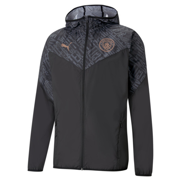 puma manchester city fc men's warm up jacket in black/copper, size m