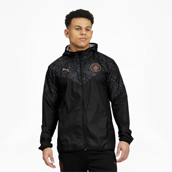 puma manchester city fc men's warm up jacket in black/copper, size l