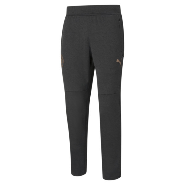 puma manchester city fc men's warm up pants in black heather/copper, size s