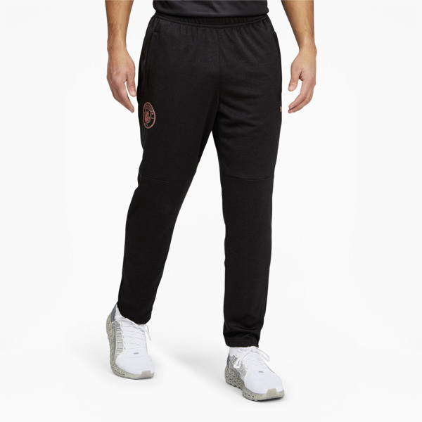 puma manchester city fc men's warm up pants in black heather/copper, size s