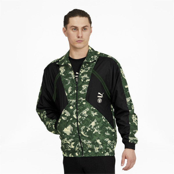 puma manchester city fc tfs men's woven jacket in silver/camo green, size s