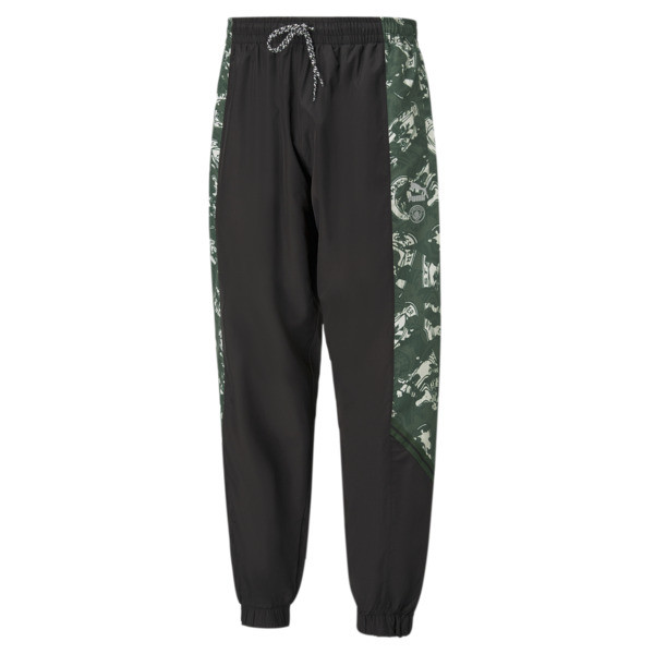 puma manchester city fc tfs men's woven pants in silver/camo green, size s
