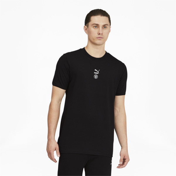 puma manchester city fc tfs men's t-shirt in black/silver, size s