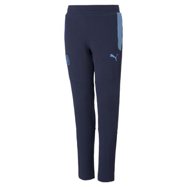 puma manchester city fc kids' evostripe pants in peacoat/team light blue, size 6
