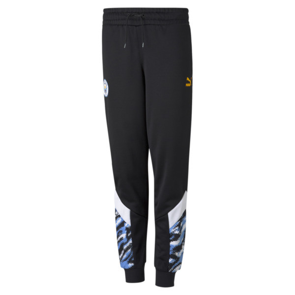 puma manchester city fc iconic mcs boys' track pants jr in black/spectra yellow, size s