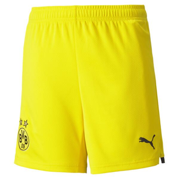 Puma Bvb Replica Soccer Shorts Jr In Cyber Yellow/Black, Size 6